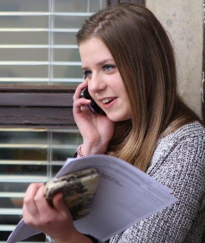 Jasmine Bond phones home to tell her parents the good news. Pic by Joe Boland.