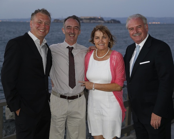 Pictured from left to right are: Dermot Griffin, National Lottery Chief Executive; Liam & Martina Kelly from Killygordon and Marty Whelan, Winning Streak TV Gameshow host.