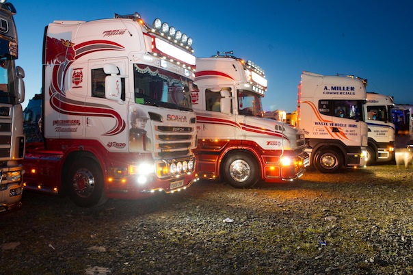 Truck light up the darkness at the North West Truck Festival on Saturday evening last.  Photo- Clive Wasson
