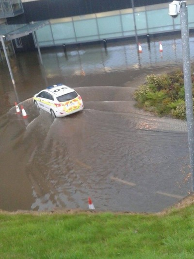 Gardai at the latest flooding at Letterkenny General Hospital in August.