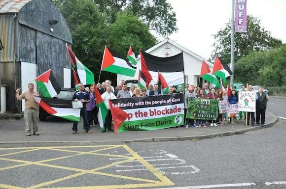 The solidarity protest held in Muff in support of the people of Gaza.