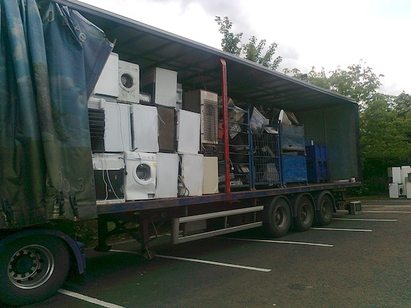 One of the nine articulated lorries filled with electrical goods.