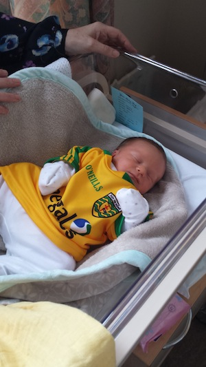 Baby Daithi looking very relaxed after watching Donegal beat Dublin.