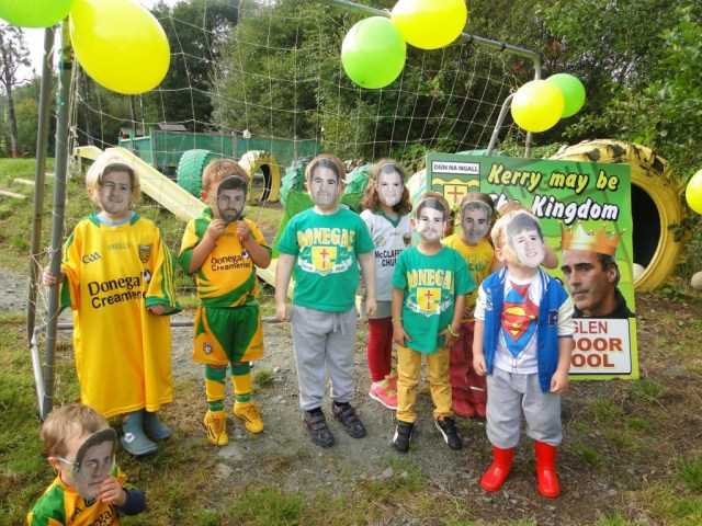 Children at the Glen Outdoor School in Glenswilly adopt a blanket defense against Kerry