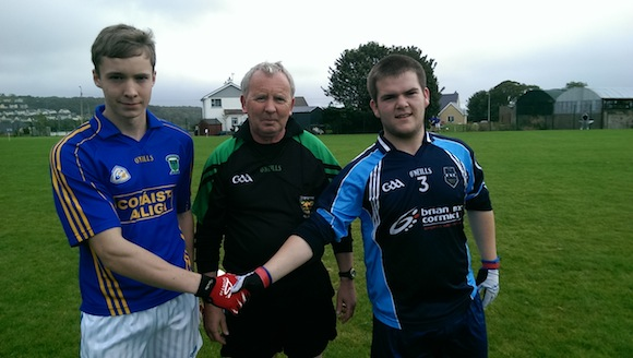 The Colaiste Ailigh and Finn Valley captains meet before the game.