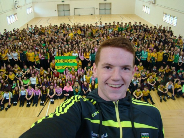 Minor star Lorcan Connors takes a 'Selfie for Sam' at Loreto Milford, ahead of  Sunday's clash with Kerry.
