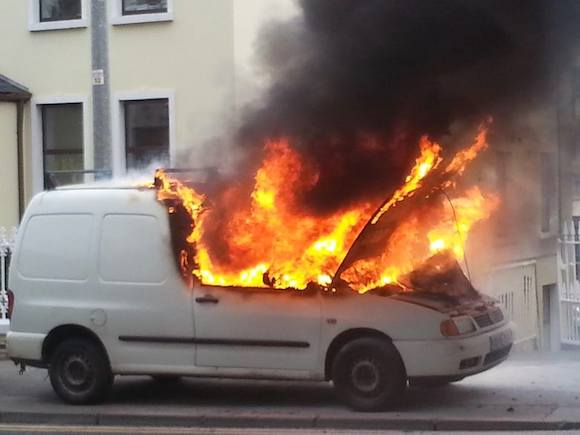 The van on fire in Letterkenny today - DonegalDaily.Com
