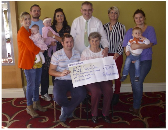 The Boyle family make their cheque presentation to the Donegal Alzheimer's Group.