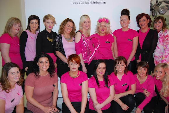 All the ladies form Patrick Gildea Hairdressing Salon certainly look pretty in pink!