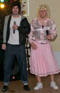 Stephen Laird as Danny and Paddy Gallagher as Sandy performing Summer Lovin' from Grease at the Stars in Their Eyes in Raphoe on Saturday night.