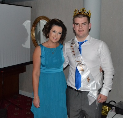 Prom King Michael Mc Colgan with Ms Boland, Deputy Principal