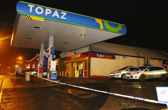 The scene of this evening's raid on a petrol station in Castlefin. Pic by North West Newspix.