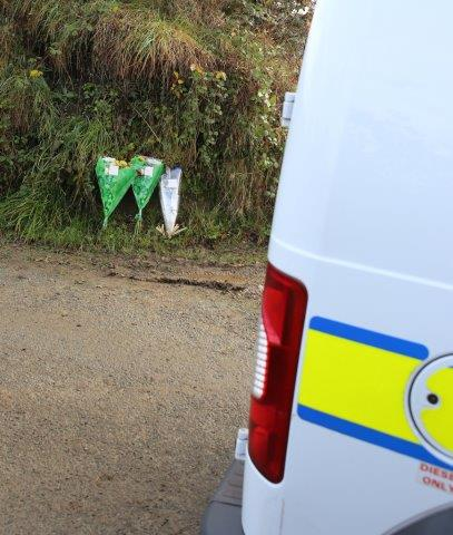 Flowers left at the scene close to where body of Derry man was found.Pic North west NewsPix/Copyright