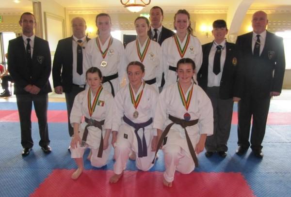 Emer, Ciara and Elaine Dullaghan achieved gold in team kata