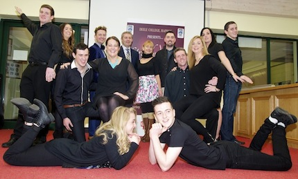 Some of the dancers taking part in the Deele College Strictly Come Dancing on December 6th pictured at the launch with Lee Gooch, Dance instructor Marian Shiels, Joe Boyle School Principal and Darragh Kelly of Glebe Builders in Donegal Town the main sponsors.