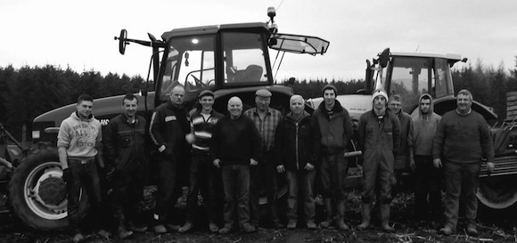 Relatives and friends of the late Kevin Woods who harvested his potato crop on Saturday.