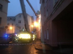 Fire crews bring the residents to safety