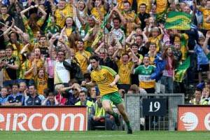 Ryan McHugh wheels away in delight after scoring a crucial goal against Dublin in August.