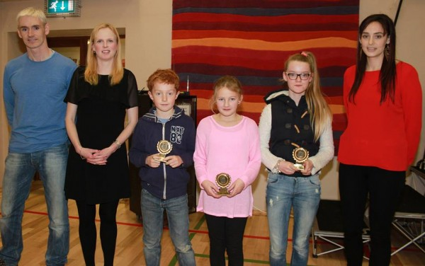Award winners from the Maghery training group Jack Tracey, Fynn Moulton Melissa Mc Gee with Aidan Gillespie, Fionnuala Diver and coach Dawn Croke