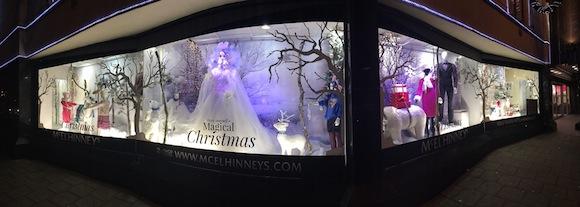 The stunning McElhinneys Christmas window display.
