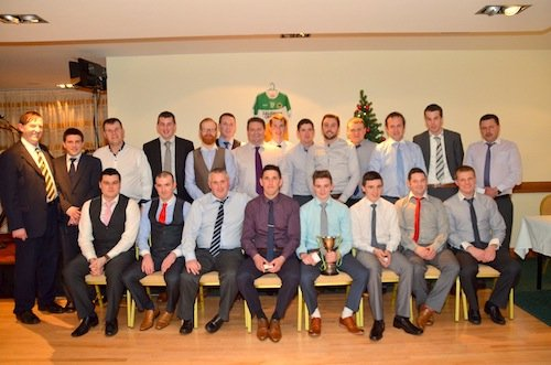 Special Guest on the night Donegal Coaching Officer, Anthony Harkin presented Glenswilly Junior B team their medals at the Glenswilly Gaa Dinner Dance.  Photo Geraldine Diver.