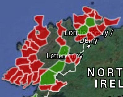 The red parts of the map indicate the areas of Donegal which will get eFibre broadband between April and June while the green areas already have it.