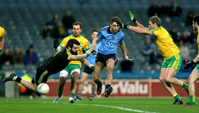 Cormac Costelloe scores Dublin's opening goal at Croke Park this evening.