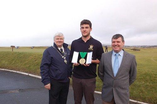 Donegal Sports Star 'Golf' award winner Kyle McCarron with Council Leas-Cathaoirleach Cllr Nicholas Cross and Donegal Sports Star committee Chairperson Neil Martin