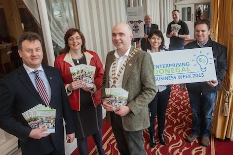 Pictured at the launch of Enterprising Donegal Business Week 2015 are County Manager Seamus Neely; Ursula Donnelly Donegal Local Enterprise Office; Mayor of Donegal John Campbell; Rachel McIntyre of Mac's Mace a guest speaker during the week; Local Enterprise Office client, PJ Patton of Patton Engineering; Danny McEleneny of Donegal Local Enterprise Office and Christy Lynch of Efficient Heating and Plumbing who are also clients of Donegal Local Enterprise Office.