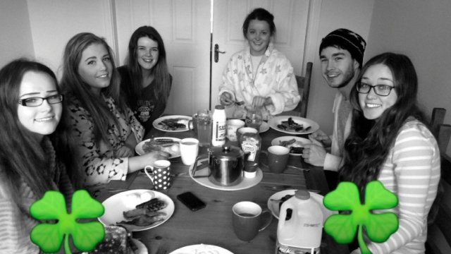 The Burtonport gang fuelling up before they celebrate St Patrick's Day in Sligo.