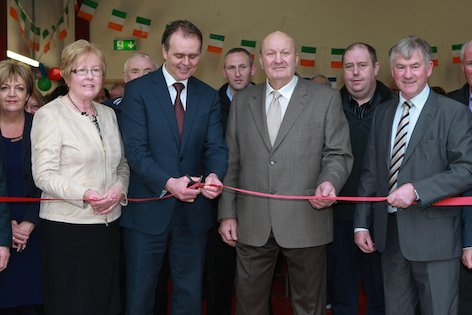 The new Community Heritage Centre in Carrigart was officially opened  by An tAire Stáit Joe McHugh, TD pictured with Margaret and Hugo Boyce on Saturday. also pictured are Building Contractor, Francie Mc Hugh and Noell Mc Bride.Photo Cristeph/Brian McDaid