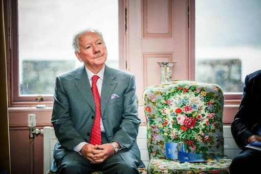 An Irish institution: Gay Byrne caught in typical pose at today's launch.