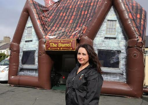Catriona outside one of her inflatable pubs which was officially launched today.
