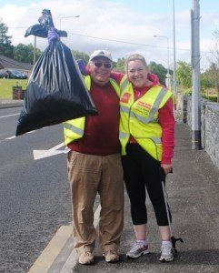 Peter O'Reilly and his daughter Aoife after last year's clean-up.