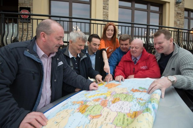 Gabriel Duffy, Top Oil, Ena Barrett and Robert O'Connor, Relay For Life, Seamus McLaughlin Inishowen Motors, Mayor of Letterkenny, Michael McBride and Emma McHugh from Atlantic Travel pictured at the launch of the charity drive from Malin Head to Tarifa, Spain at the Mount Errigal Hotel last night. Also pictured are the three shopping centre managers Kevin Doyle, Laois Shopping Centre, Brian McCracken, Letterkenny Shopping Centre and Páraic Naughton, Galway Shopping Centre with their new KIA Sorento, sponsored by Inishowen Motors.