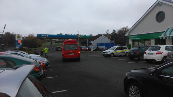 Gardai at the scene of the raid of the petrol station at Glencar in Letterkenny earlier this week.