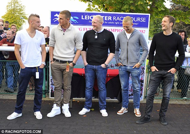 Jamie Vardy, Chris Wood, Conrad Logan, Richie De Laet and Andy King enjoying a day at the races.