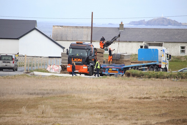 Workers start to build a temporary road into lands to film the scenes for Star Wars at Malin Head. Pic by Northwest Newspix.