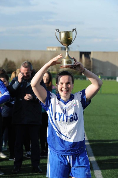 Team captain Geraldine McLaughlin from Letterkenny IT pictured with the Donaghey Cup after defeating Blanchardstown IT in Dublin on Tuesday, Geraldine was awarded player of the match  also having scored 4 goals and 12 points in the game. (photo Paddy Gallagher)