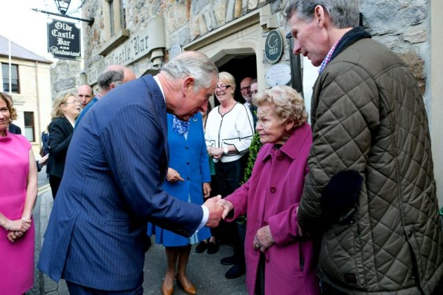 25/05/2016 NO REPRO FEE, MAXWELLS DUBLIN, IRELAND Visit to Ireland by The Prince of Wales and the Duchess of Cornwall. Donegal, Ireland. Pic Shows: HRH The Prince of Wales meeting members of the public at Donegal Castle. PIC: NO FEE, MAXWELLPHOTOGRAPHY.IE