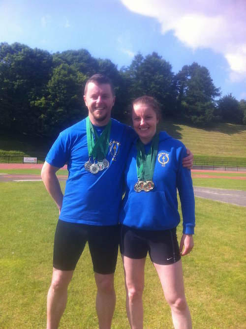 Martin and sister Karen with the medal haul.