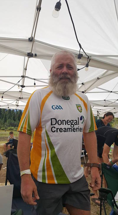 Mick in his proud Donegal jersey after his run.