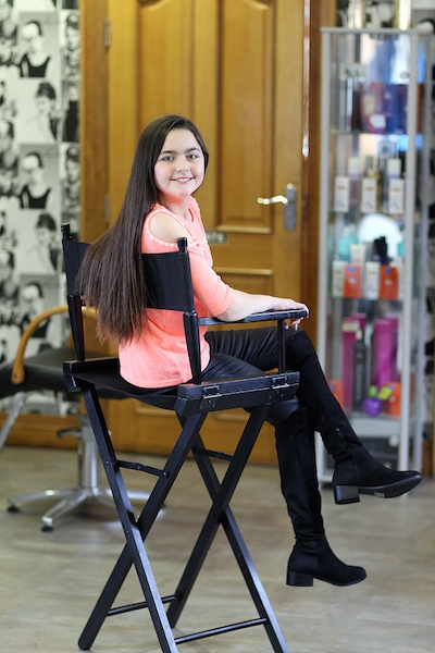 Cancer survivor, Erin Gallagher pictured at her local hairdresser, HairDos where she donated her ponytails to The Princess Trust to make wigs for Children With Cancer. Photo Brian McDaid