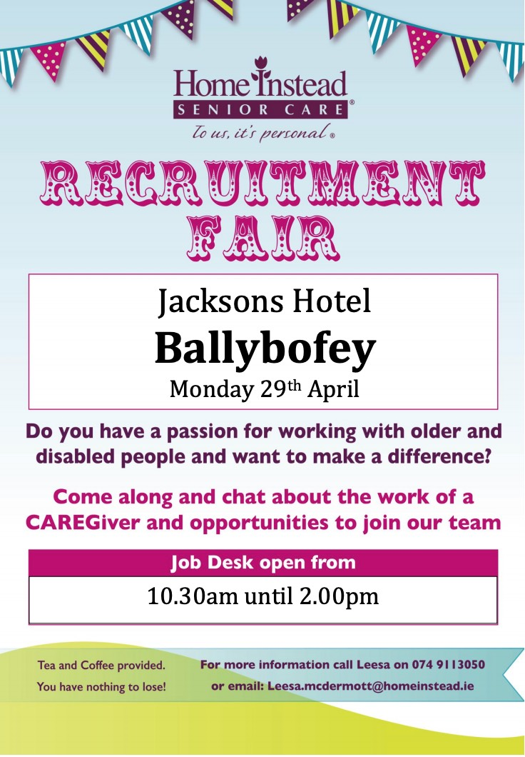 Home Instead Donegal hosting Recruitment Fairs in Ballybofey