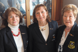 Mary Flynn, outgoing Captain, Roseanne Logue, Portsalon Lady Captain 2020 and Club President, Betty Boal