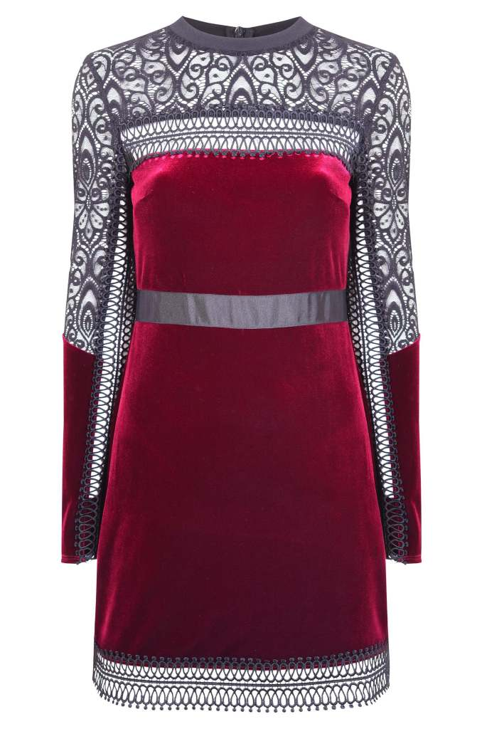 Topshop Velvet Lace Trim A-Line Dress €76