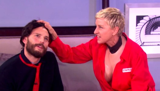 Jamie Dornan trapped by Ellen in hilarious sketch
