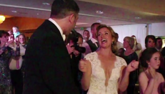 Watch: Newlyweds' first dance interrupted by noisy invasion