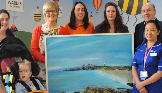 Tanya presents a beautiful Donegal gift to the Children's Ward