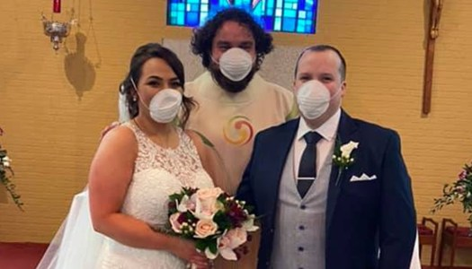 Happy Donegal newlyweds all smiles… behind the masks!